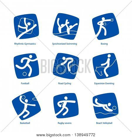 Summer Sports pictograms. Vector icons set.
