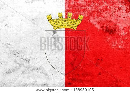Flag Of Mdina With Coat Of Arms, Malta, With A Vintage And Old L