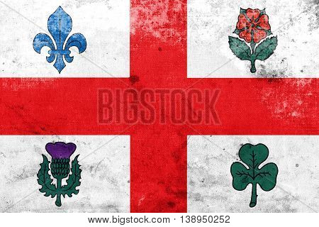 Flag Of Montreal, Canada, With A Vintage And Old Look