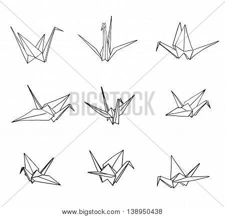 Vector illustration Set of hand drawn doodle crane birds