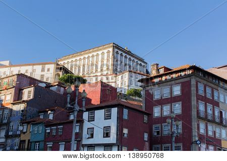 PORTO, PORTUGAL - JUL 14, 2016: View of houses Old District near the Douro river in the historic centre of City. Porto won the European Best Destination 2012 and 2014 awards.