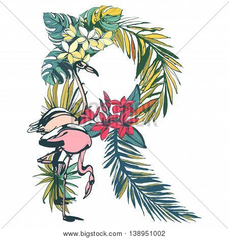 Vector illustration Tropical floral summer pattern hand drawn ornamental font set with palm beach leaves, flowers, flamingo and toucan birds. Letter R