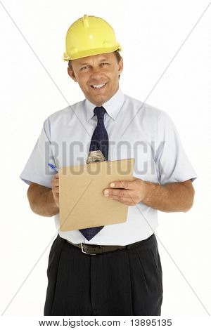 Portrait Of A Foreman Writing On A Clipboard
