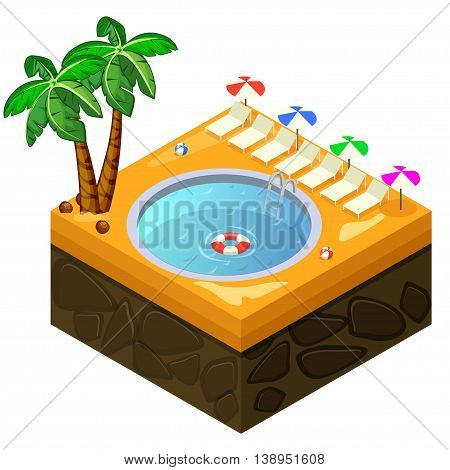 Isometric swimming pool on the beach in vector