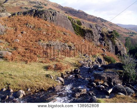 Stream in the Langdales in the English Lake District Cumbria