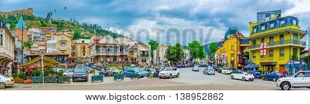 TBILISI GEORGIA - MAY 28 2016: The Square of Vakhtang Gorgasali is the center of tourist life there are a lot of landmarks cafes taverns hotels and guest houses on May 28 in Tbilisi.
