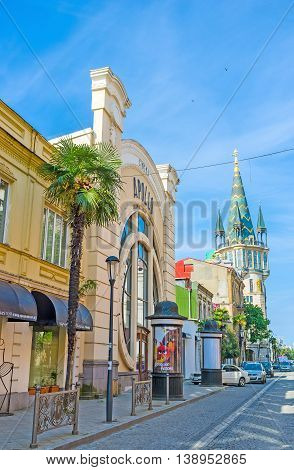 BATUMI GEORGIA - MAY 26 2016: The city boasts many architectural landmarks Apollo cinema and astronomical tower are among them on May 26 in Batumi.