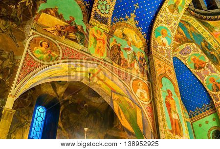 TBILISI GEORGIA - MAY 28 2016: The frescoes depicting the Saints in Sioni Cathedral of Dormition on May 28 in Tbilisi.