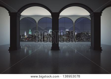 Interior With Night City View