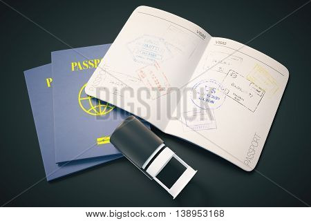 Passport with traveling stamp on black background. Topview. Travel concept 3D Rendering