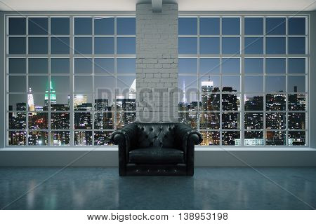 Black leather armchair in interior with brick column concrete floor and pamoramic window with illuminated night city view. 3D Rendering