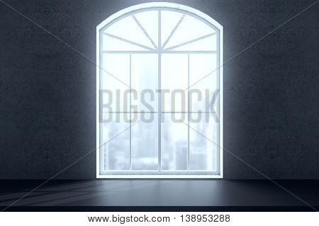 Windowsill and window with bright city view on concrete wall. 3D Rendering