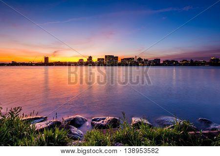 Sunset Over The Charles River At The Esplanade In Boston, Massachusetts.