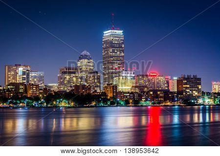 The Charles River And Buildings In Bay Back At Night, Seen From Cambridge, Massachusetts.