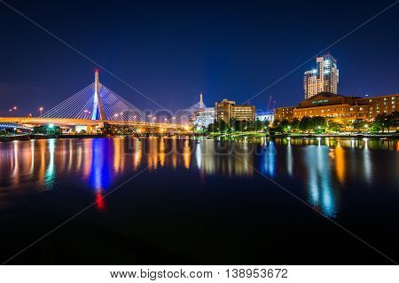 The Leonard P. Zakim Bunker Hill Memorial Bridge At Night, Seen From North Point Park In Cambridge,