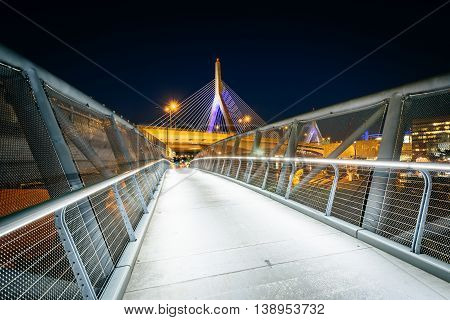 The North Bank Pedestrian Bridge And Leonard P. Zakim Bunker Hill Memorial Bridge At Night, In Cambr