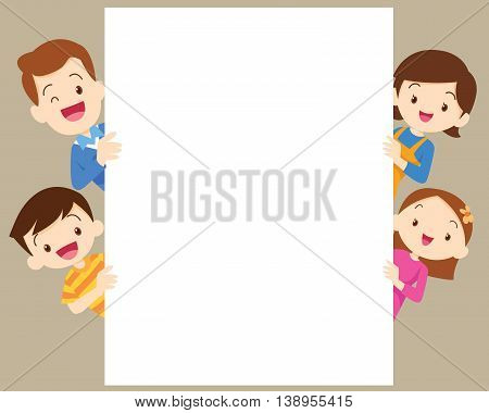 Cute family post smile beside a white board space frame