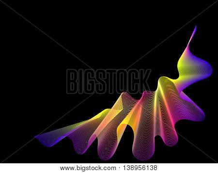 Black Background With Abstract Rainbow Lines