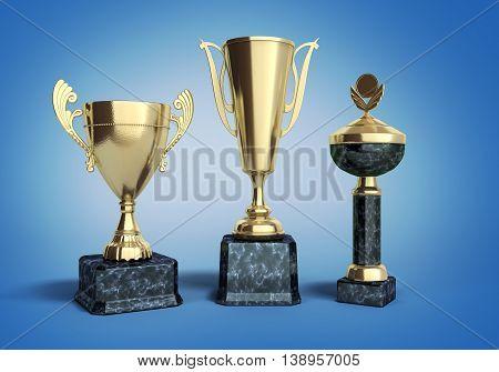Gold Trophys Cup 3D Illustration On Blue Gradient
