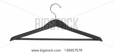 Wooden Black Coat Hanger 3D Render On White