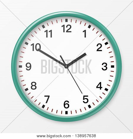 Realistic wall office clock. Vector EPS10 illustration