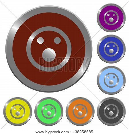 Set of color glossy coin-like Shocked emoticon buttons.