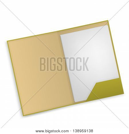 Document folder with papers, isolated on white background. Vector file.