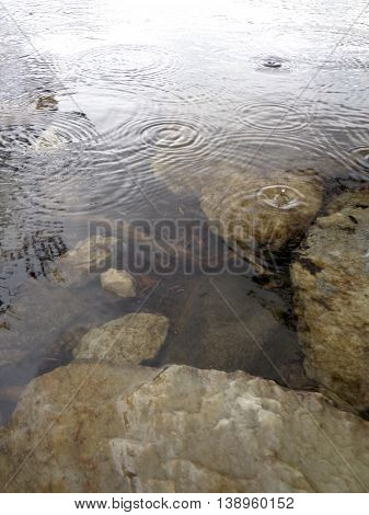 Raindrops hitting the surface of an alpine lake