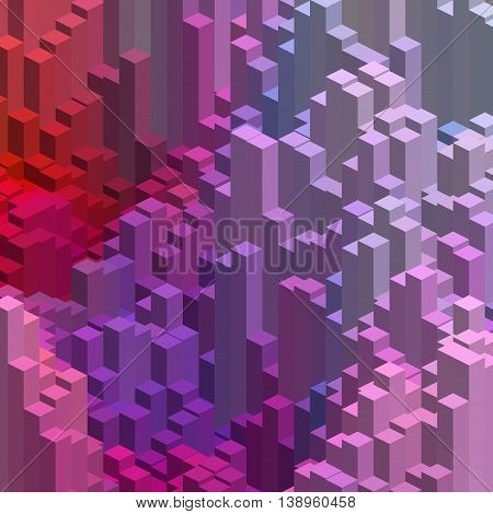 Abstract Background With Cube Decoration. Vector Illustration. Pink, Purple, Red Colors.