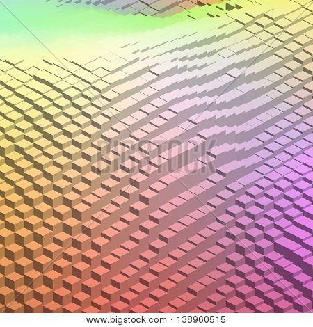 Abstract Background With 3D Cubes. Vector Cube Box For Business Concepts. Yellow, Pink, Orange Color