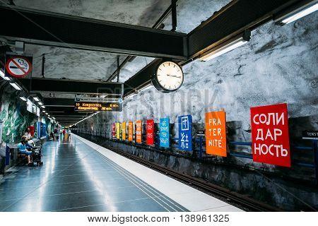 Stockholm, Sweden - July 30, 2014: Modern Stockholm Metro Train Station, Sweden. Underground