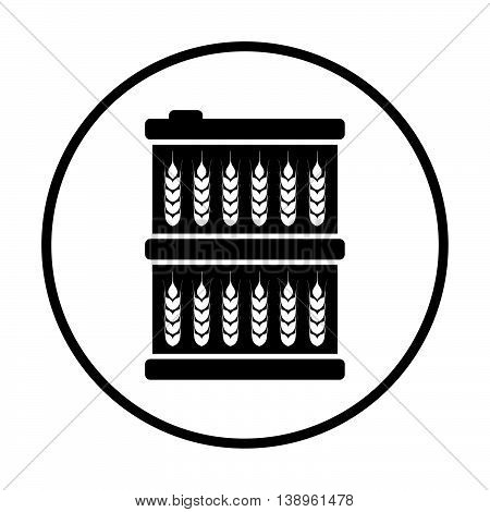 Barrel With Wheat Symbols Icon