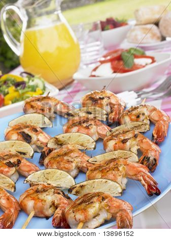 Al Fresco Dining With Prawn Skewers