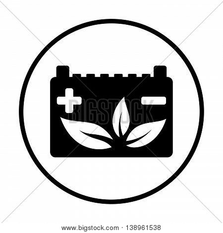 Car Battery With Leaf Icon