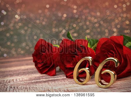birthday concept with red roses on wooden desk. 3D render - sixty-sixth birthday. 66th