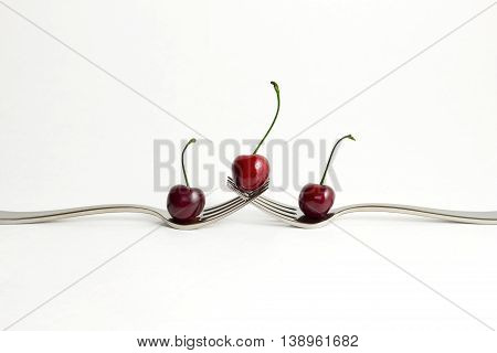 Creative photo of cherries with forks on white background.