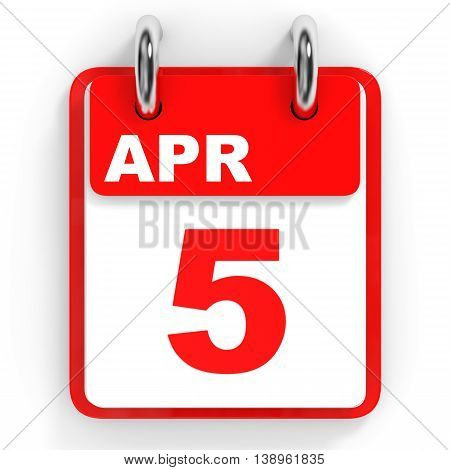 Calendar On White Background. 5 April.