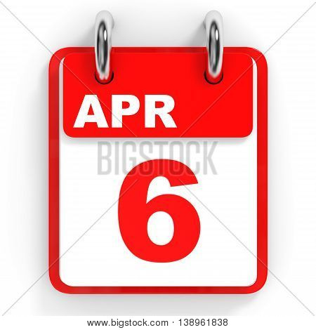 Calendar On White Background. 6 April.