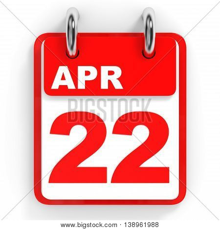 Calendar On White Background. 22 April.