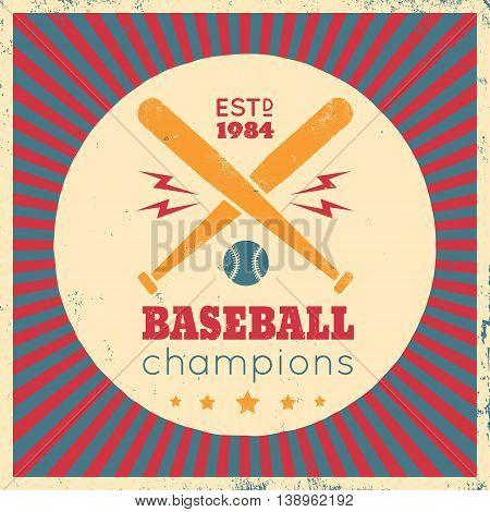 Vintage vector sport logo for baseball champions