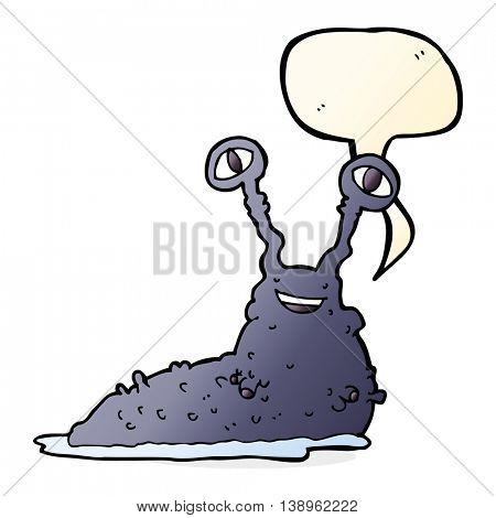 cartoon slug with speech bubble