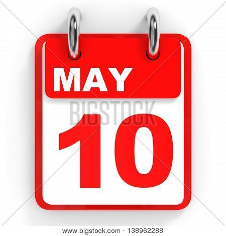 Calendar On White Background. 10 May.