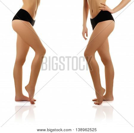 Beautiful Woman Show Her Tan Slim Body. Beautiful Slim Woman