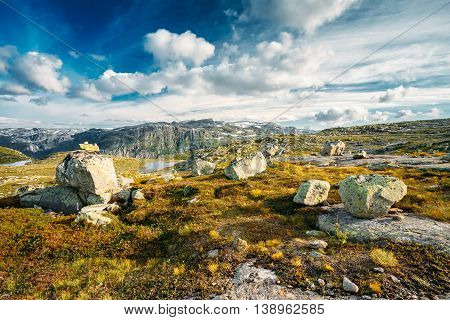 Beautiful Landscape Of Norwegian Mountains. Nature Of Norway. Travel And Hiking. Amazing Scenic View At Sunny Summer Day. Nobody. Scandinavia. Blue Sky