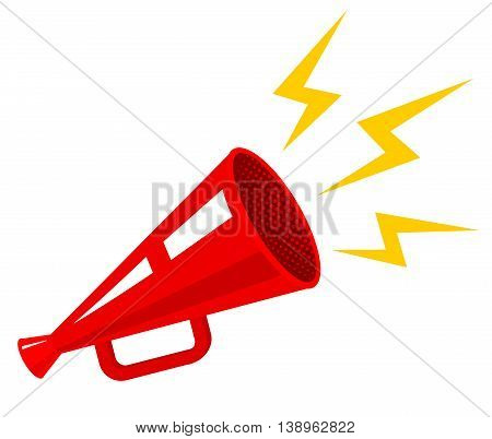Vector vintage poster with a red megaphone