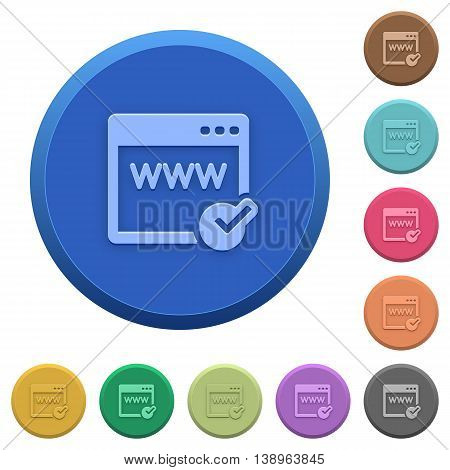 Set of round color embossed domain registration buttons