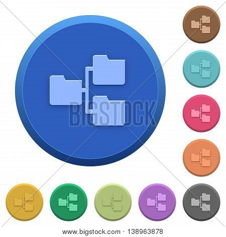 Set of round color embossed shared folders buttons