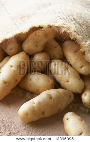 Fresh Potatoes In Hessian Sack