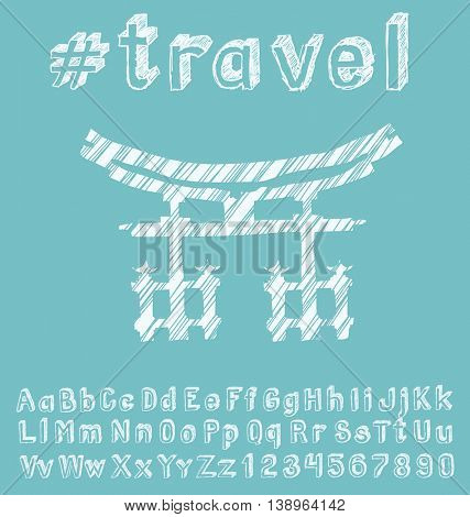 Travel concept. Vector background with hand made font and monument