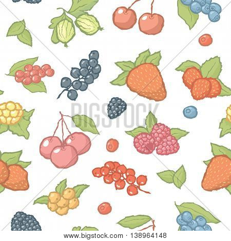 Seamless berries pattern. Vector background with hand made fruits